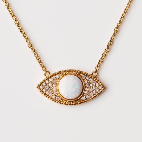 Evil Eye Necklace Opal CZ Yellow Gold Jewelry Modern Necklace
