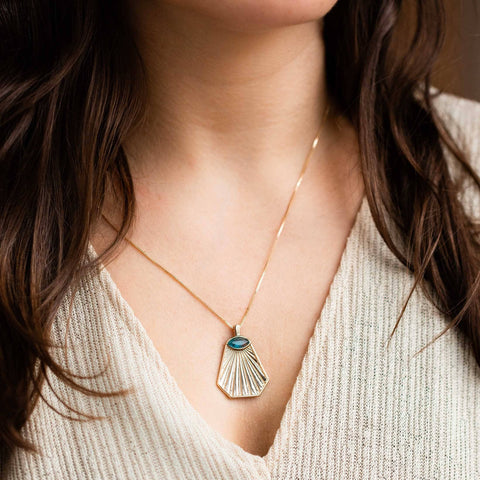 Athena Sun Ray Pendant Necklace Blue Tourmaline Quartz Yellow Gold Jewelry