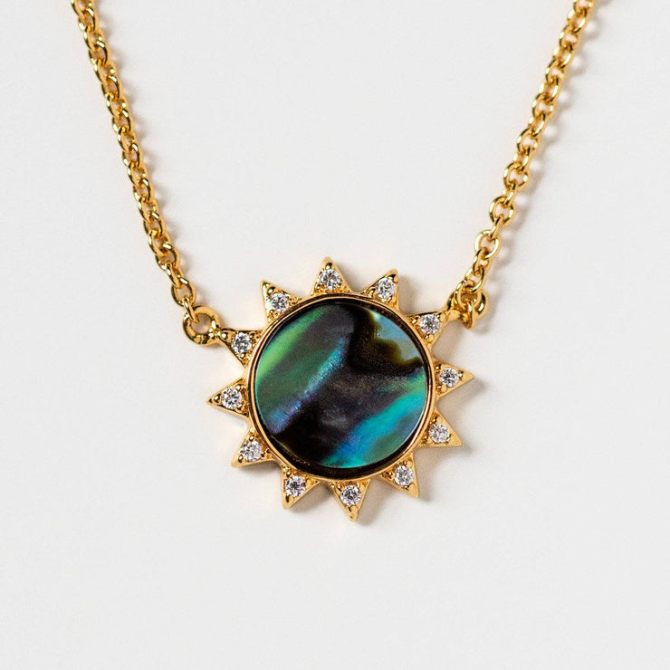soleil necklace with abalone stone sun star cz yellow gold jewelry