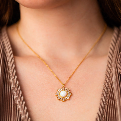 flora pendant necklace with opal statement yellow gold jewelry