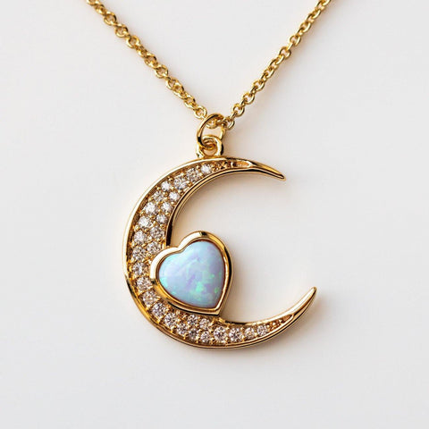 Love You to the Moon Necklace in Blue Opal