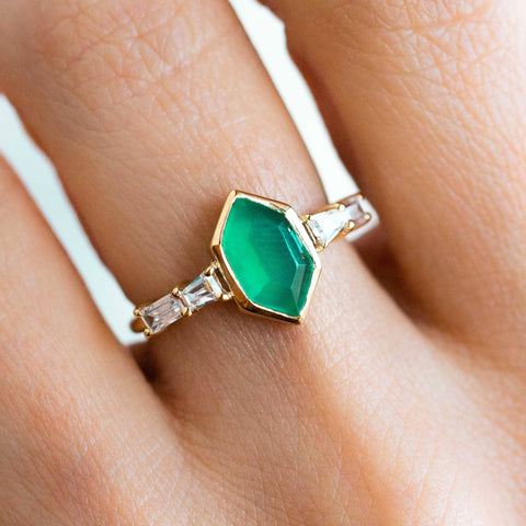 Constellation Crux CZ Milky Emerald Green Onyx Yellow Gold Ring