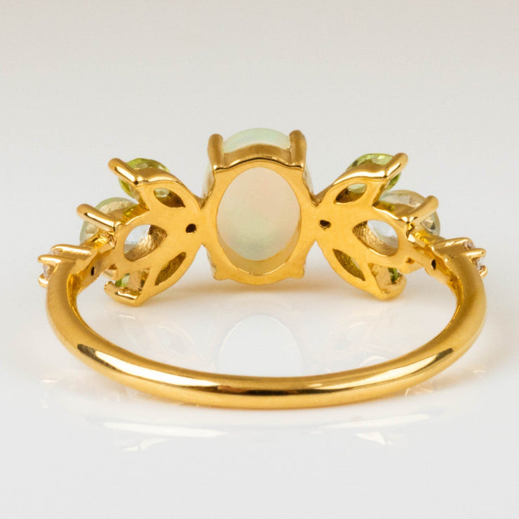 Opal Peridot Constellation Inspired Yellow Gold Exclusive Ring Elizabeth Stone
