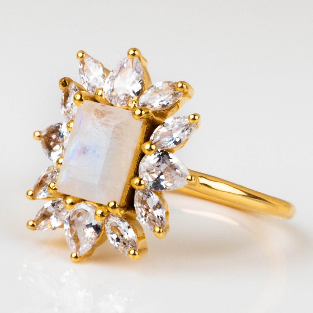 Rainbow Moonstone Constellation Inspired Yellow Gold CZ Ring