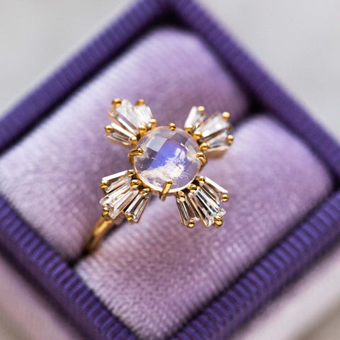 Constellation Inspired Rainbow Moonstone Compass Yellow Gold Ring