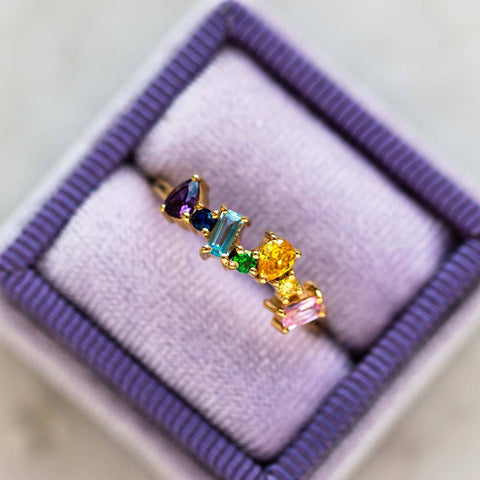 Baguette Yellow Gold Ring with Multicolored Gems Constellation Inspired