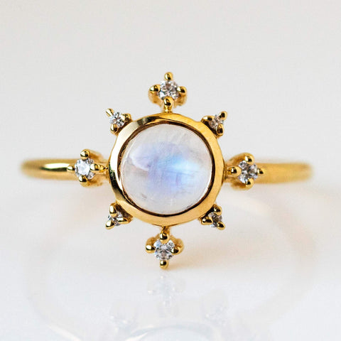 Cassiopeia Ring with Rainbow Moonstone