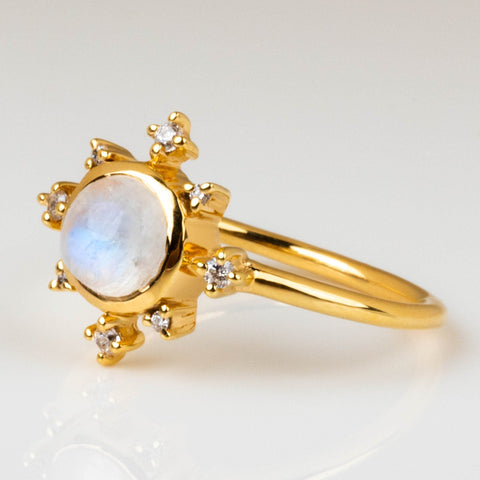 Rainbow Moonstone Greek Mythology Inspired Yellow Gold CZ Ring