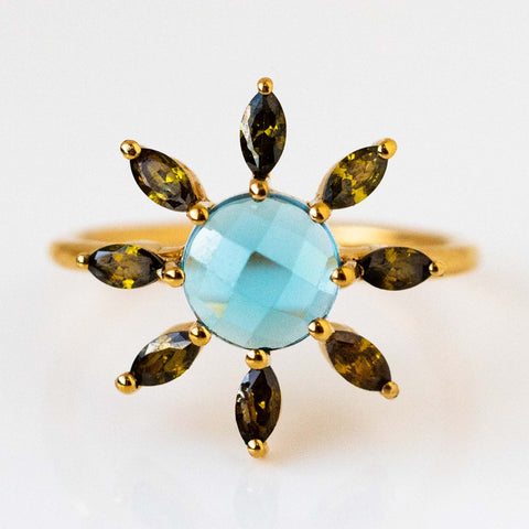 Constellation Inspired Moss CZ London Blue Topaz Elizabeth Stone Yellow Gold Ring