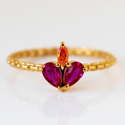 Constellation Inspired Yellow Gold Ruby Colored CZ Heart Shaped Ring