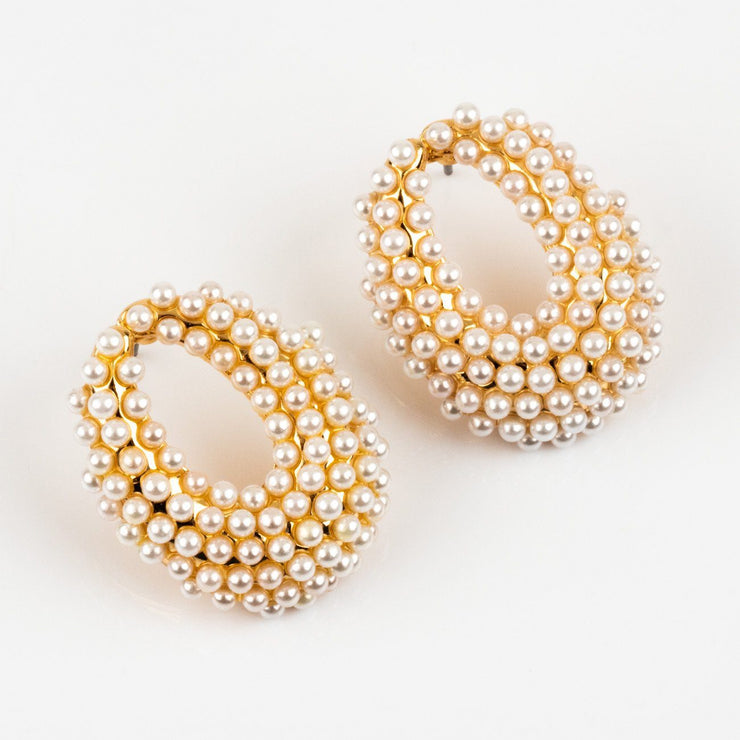 Local Eclectic Dotted Pearl 18K Gold Plated Hoop Earrings