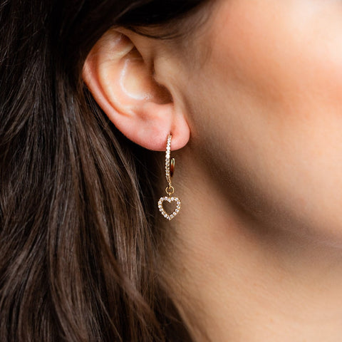 Local Eclectic Crystal Heart Dangle 18K Gold Plated Hoops