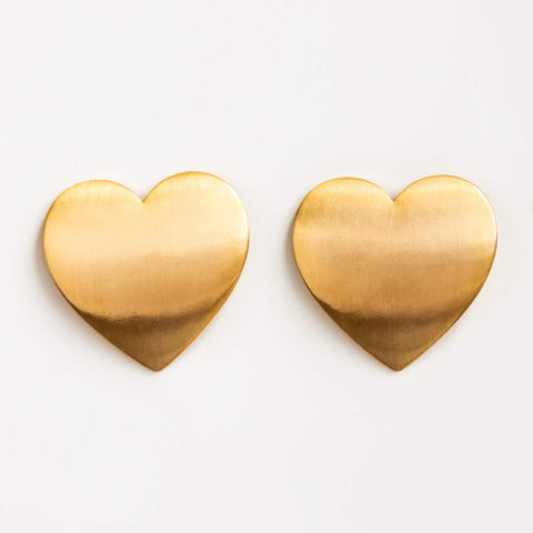 Local Eclectic Flat 18K yellow gold plated Heart Statement Studs