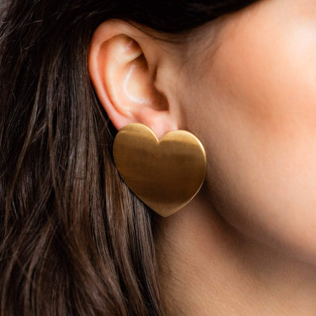 Local Eclectic Brushed 18K Gold Plated Flat Heart Earrings