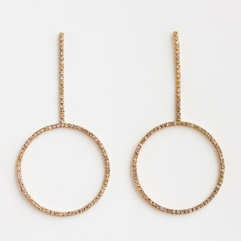 Local Eclectic Disco Party CZ 18K Yellow Gold Plated Hoop Earrings