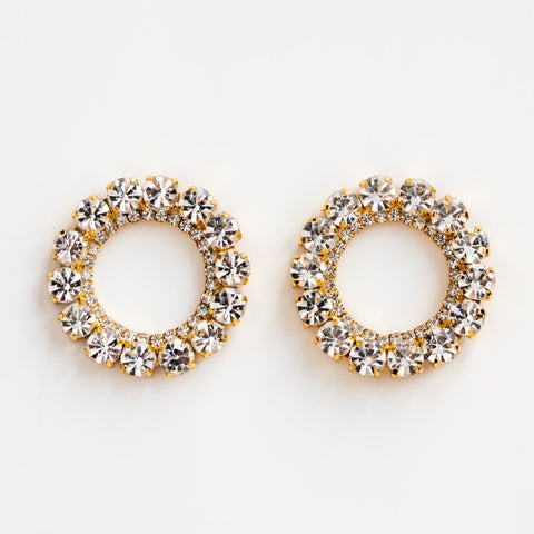 Local Eclectic Large CZ and Gold Circle 18K Yellow Gold Stud Earrings
