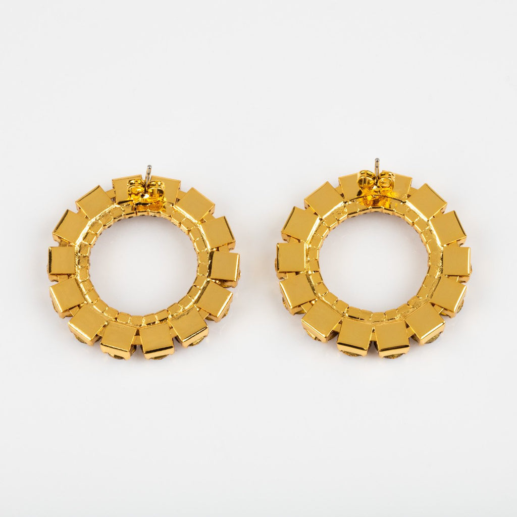 Local Eclectic Large Cubic Zirconia and Gold Circle 18K Yellow Gold Stud Earrings