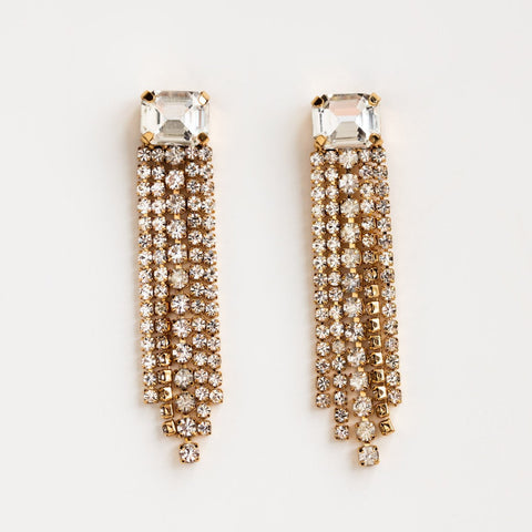 Local Eclectic Cubic Zirconia Firecracker Drop 18K Gold Plated Earrings