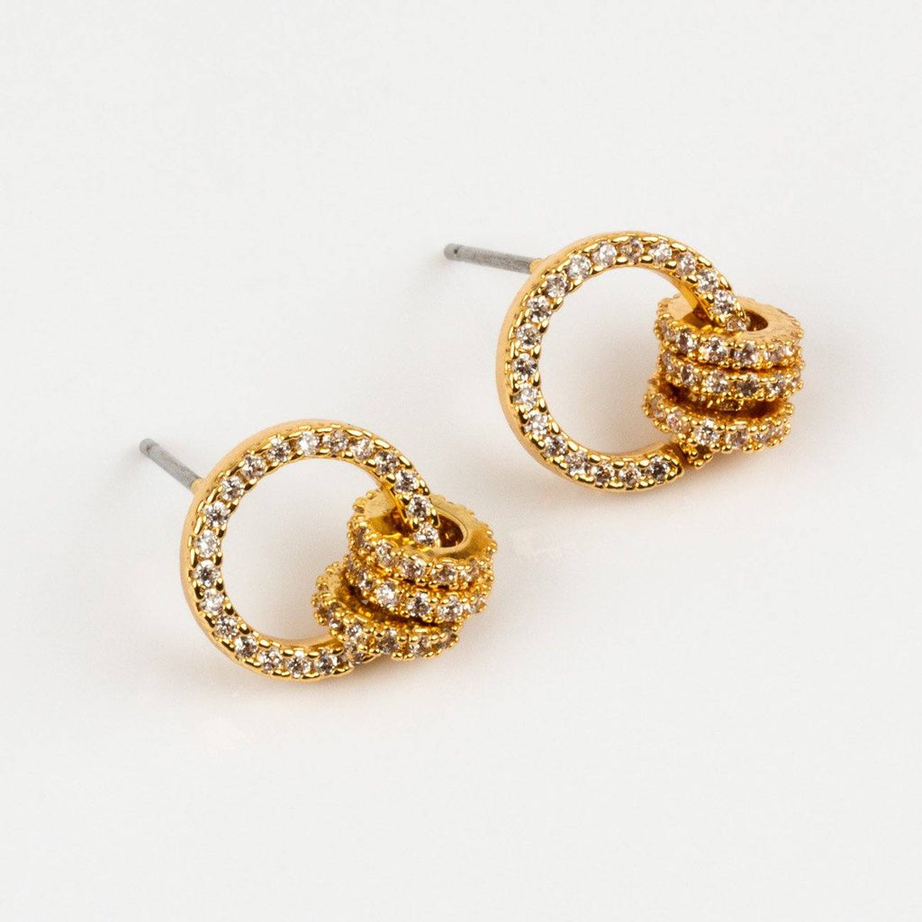 Local Eclectic Class Act Cubic Zirconia Mini Loop 18K Gold Plated Earrings