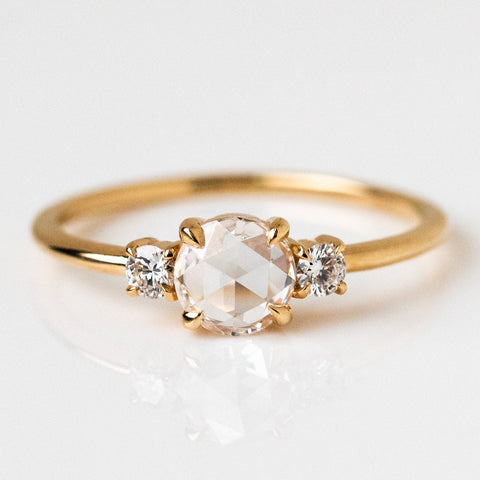 Rose Cut Diamond Solid Yellow 14k Gold Ring Everett