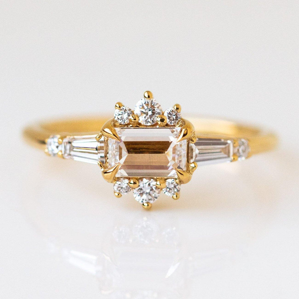 Solid Yellow 14k Gold Flora Diamond Emerald Cut Diamond Baguette Diamond Ring