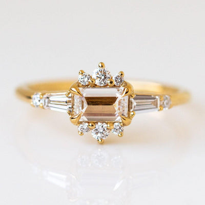 Flora Diamond Ring solid yellow gold fine diamond engagement ring