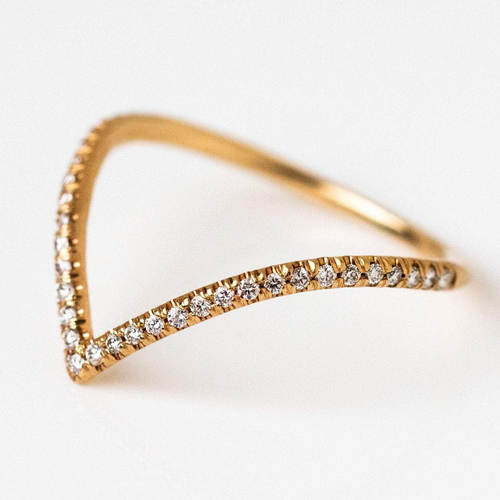 Solid Yellow 14k Gold Pave White Diamond Ring Fine Jewelry Everett