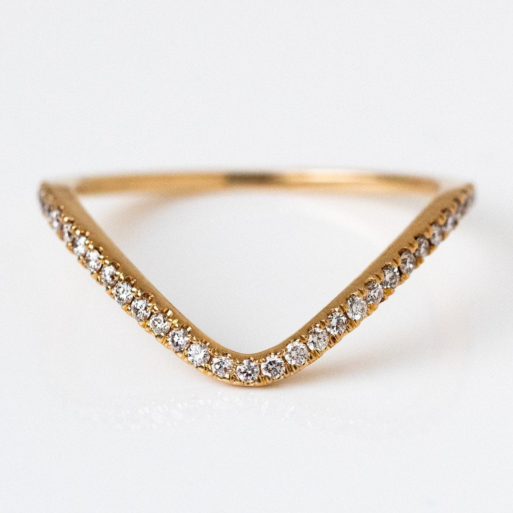 Solid Yellow 14k Gold Deep Curve Diamond Band Fine Jewelry Everett