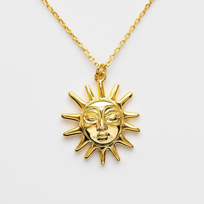 Amadora Sun Necklace unique yellow gold modern celestial jewelry