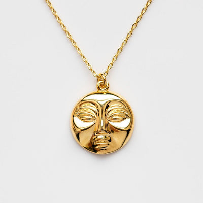 Mimas Moon Necklace modern yellow gold celestial jewelry