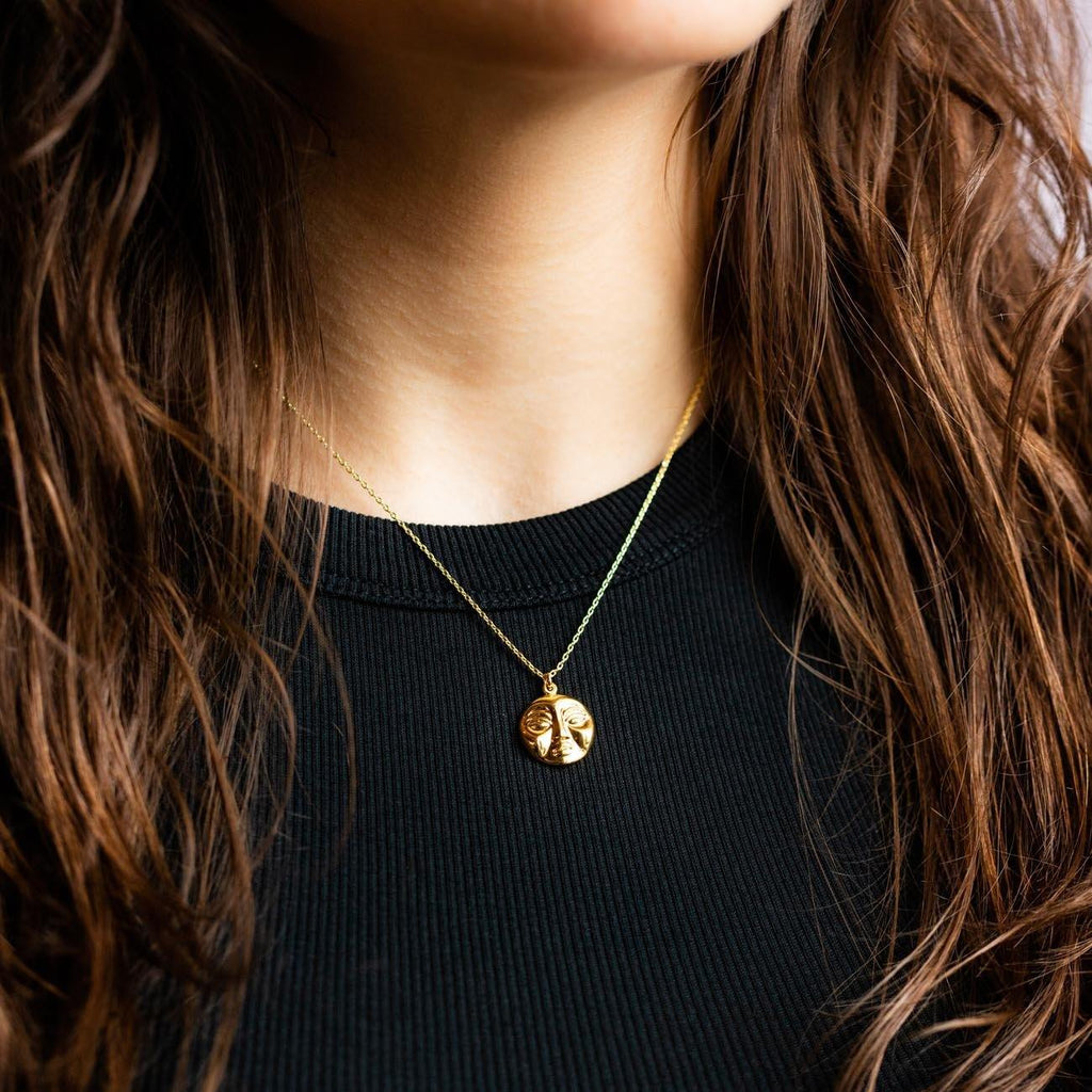 Local Eclectic - 9K Yellow Gold Mimas Moon Face Necklace - Eyland