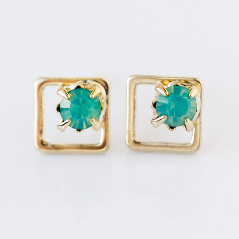 aquamarine swarovski studs from local eclectic