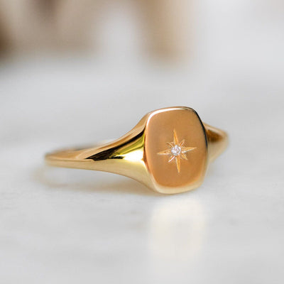 Solid Gold Diamond Star Signet Ring modern yellow gold jewelry