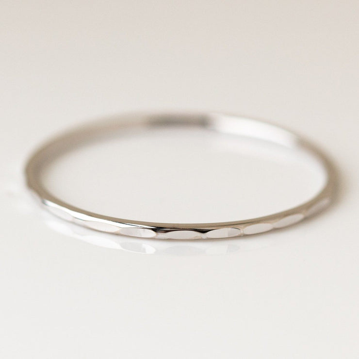 Solid Gold Hammered Band dainty yellow gold fine jewelry