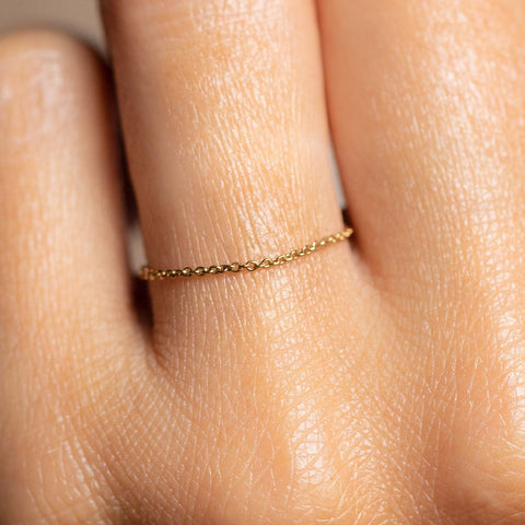 Solid Gold Chain Ring dainty yellow gold fine jewelry
