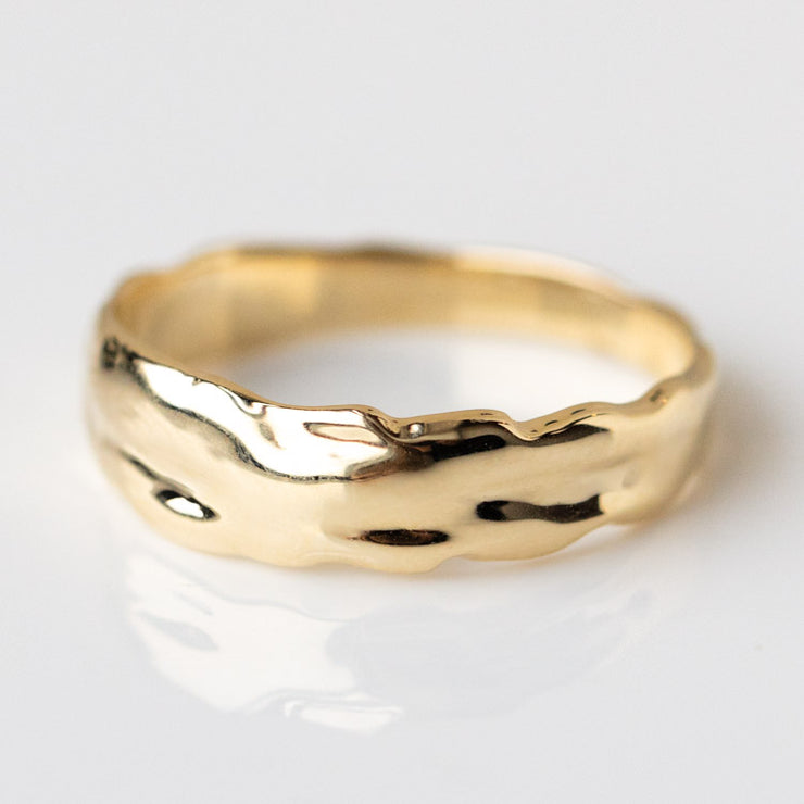 Bia Blooms for Family Gold Solid Gold Organic Chunky Band yellow gold minimal floral inspired jewelry