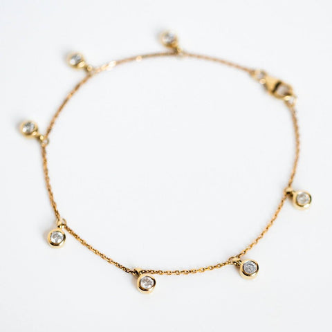 solid yellow gold diamond charm bracelet modern heirloom fine dainty jewelry
