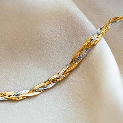 Solid Gold Mixed Metal Braided Bracelet yellow and white gold modern jewelry family gold