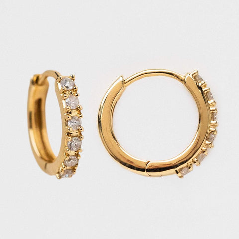 solid yellow gold diamond huggie hoop earrings family gold fine jewelry