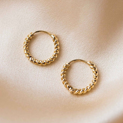 solid yellow gold twisted hoop earrings modern jewelry family gold