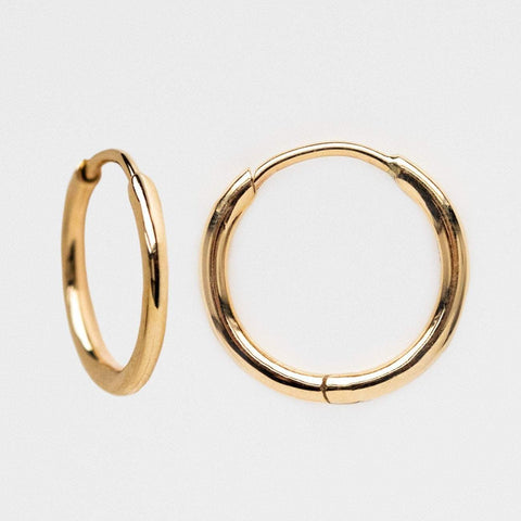 Solid Yellow Gold Mini Modern Hoop Earrings Family Gold