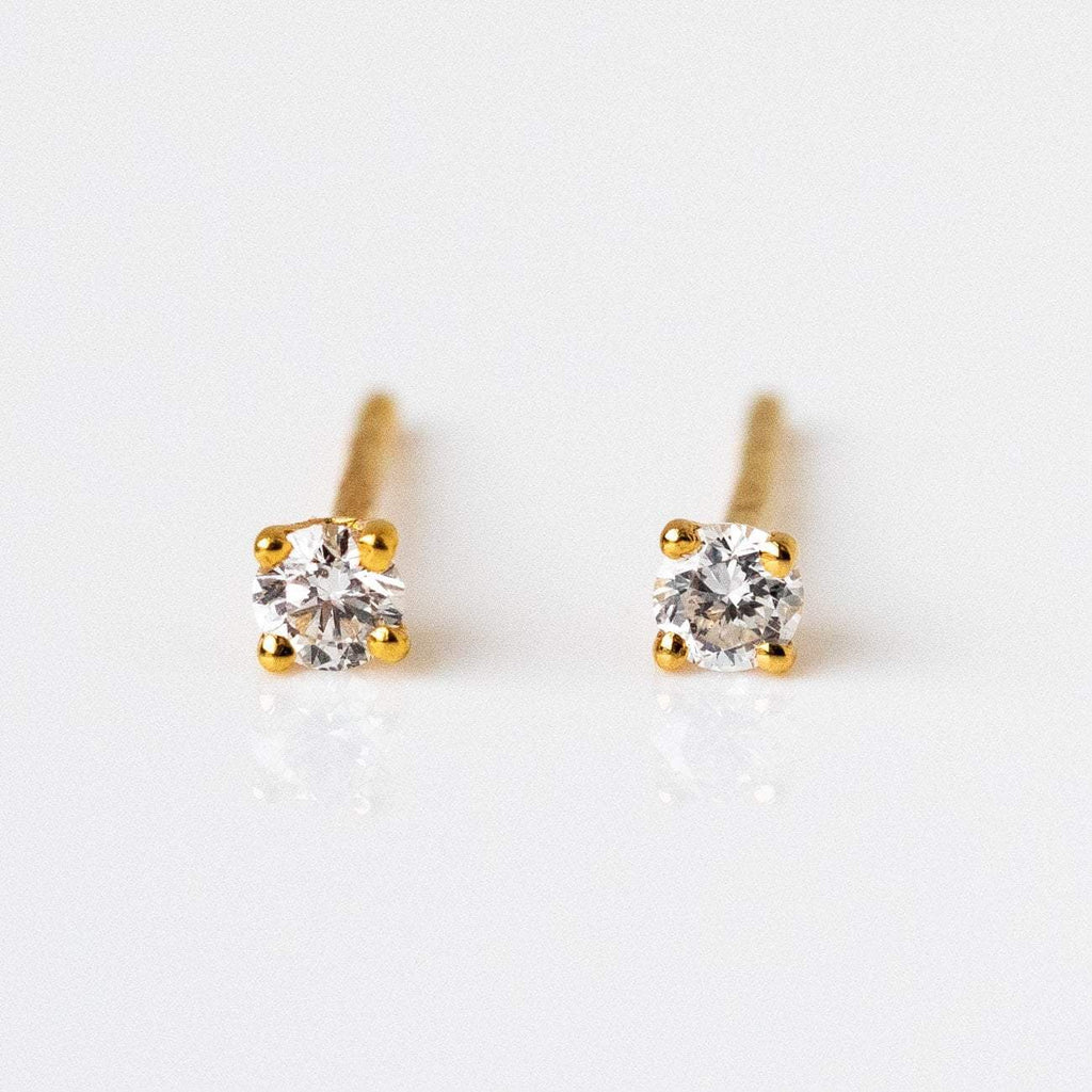 Solid Yellow Gold Small Diamond Stud Earrings Family Gold Fine Jewelry
