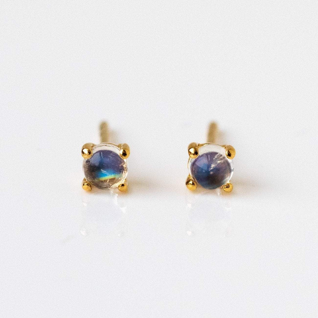 Solid Yellow Gold Fine Jewelry Moonstone Stud Earrings Family Gold