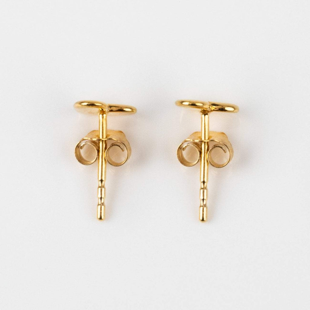 Solid Yellow Gold Heart Stud Earrings Family Gold Fine Jewelry