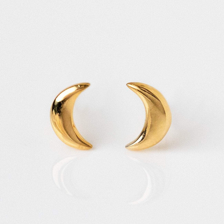 Solid Yellow Gold Moon Mini Stud Earrings Family Gold Fine Jewelry