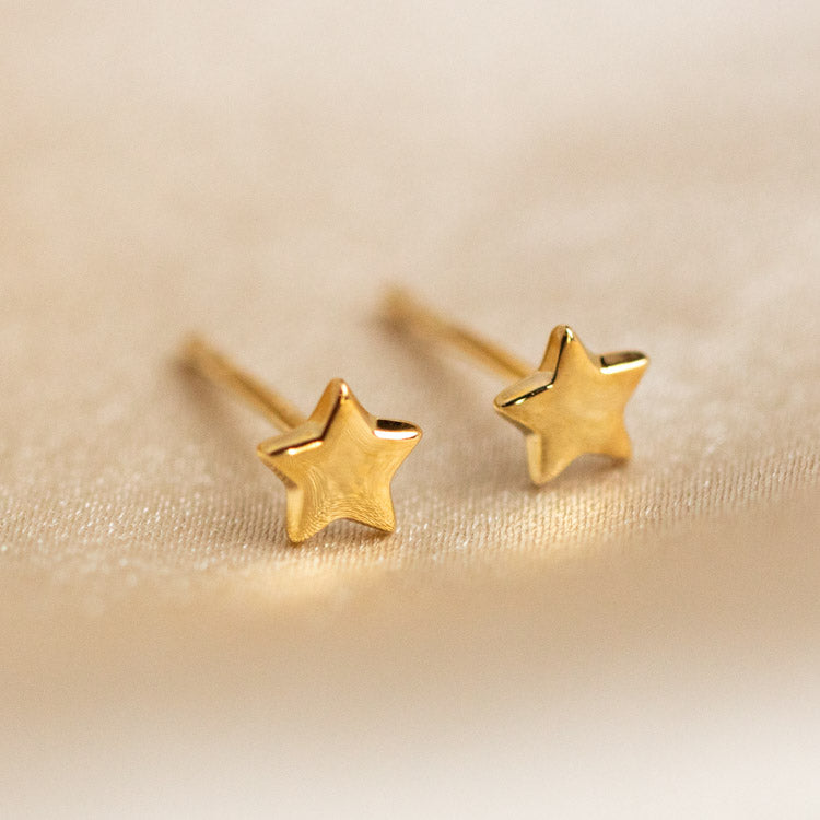 Solid Yellow Gold Star Stud Earring Fine Jewelry Family Gold