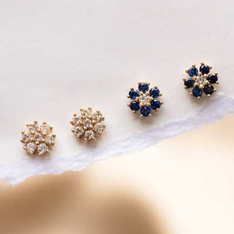 Solid Gold Gemstone Flower Studs