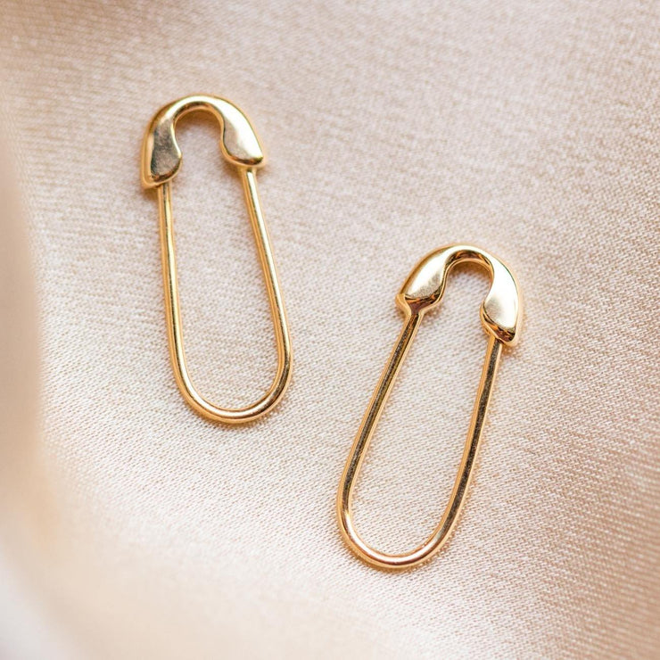 Solid Gold Safety Pin Earrings fine dainty unique yellow gold jewelry