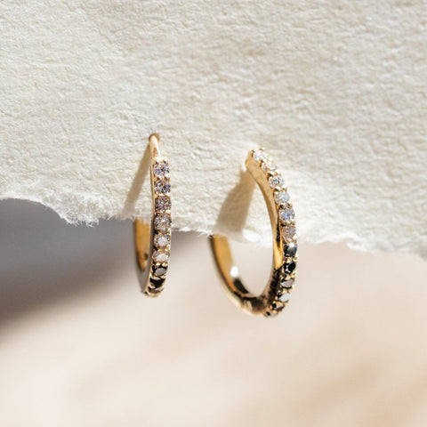 Solid Gold Yin & Yang Diamond Huggie Hoops