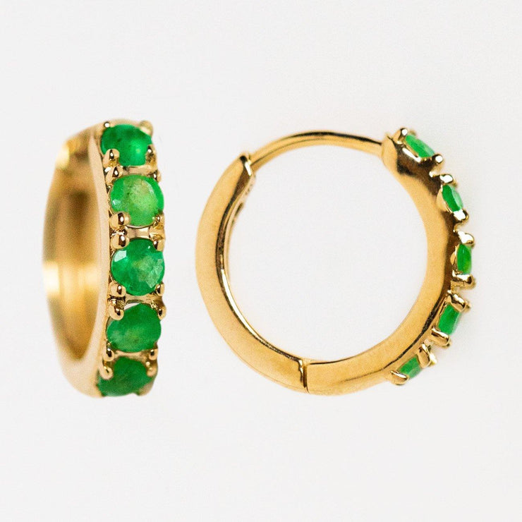 solid yellow gold emerald huggie hoops yellow gold modern jewelry